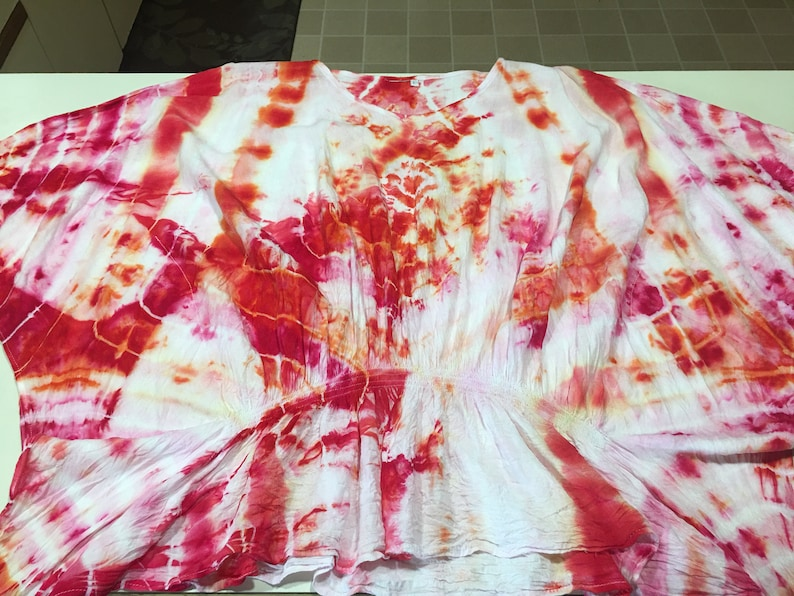 large   butterfly Geo ice dyed coral pink .100 rayon soft and very comfortable