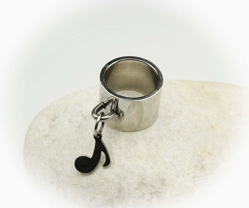 Wide Ring With Music Note\u00a0Dangle Charm Stainless Steel