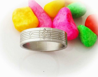 Stainless Steel Music Note Ring