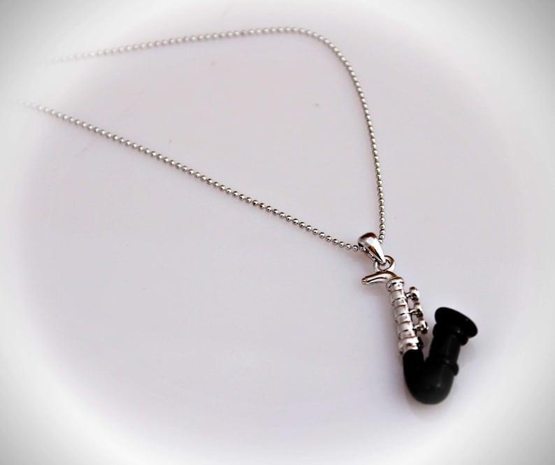 Saxophone Necklace Silver  Black