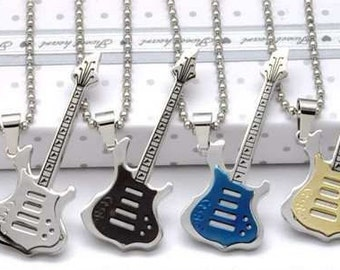 Titanium Guitar Pendants On Ball Chain - Choice of Colour and Chain