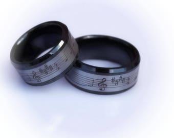 Music Ring - Tungsten and Ceramic Combination Ring - Feels like Velvet