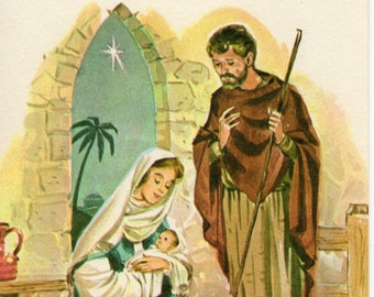 First Christmas Card Vintage Unused Jesus Mary Joseph Manger Peace  Made in USA Religious Religion Holiday