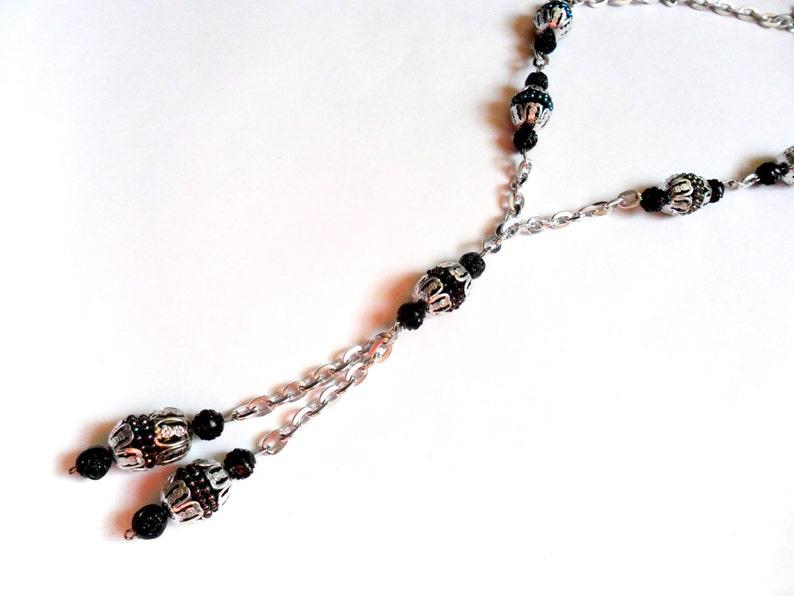 Vintage Eloxal Chain Necklace Long Length Dangle Black image 0