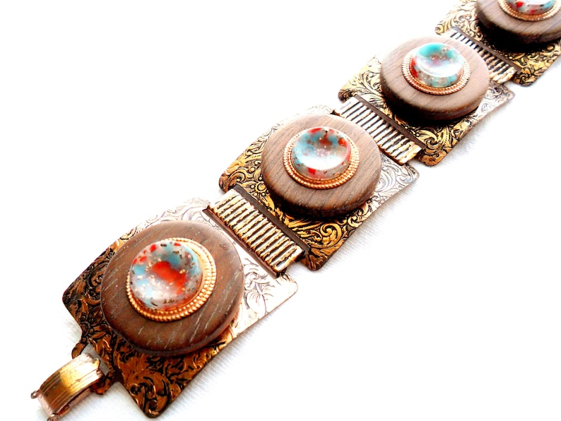 Vintage Metal Panel Bracelet Wood Acrylic Faux Turquoise image 0