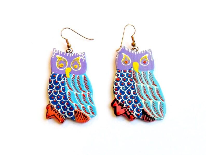 Vintage Purple Owl Earrings  Hand Painted  Thailand Painted image 0