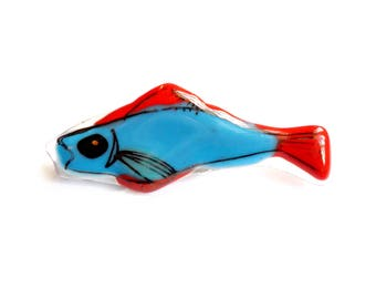 Vintage Glass Fish Brooch - Art Glass - Fused Layer Glass - Unusual Fish Pin - Stylized Fish Broach - Red Blue Gold - Hand Drawn