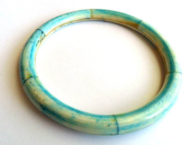 Vintage Dyed Blue Bone Bangle Boho Tribal Ethnic Hippie Style image 0