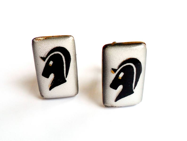 Enamel Horse Head Cufflinks  Evans Signed  Marked Guilloché image 0