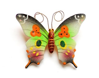 Vintage Sugared Butterfly Brooch - Textured Enamel - Korea Korean - Painted Butterfly - Spring Summer Bug Insect