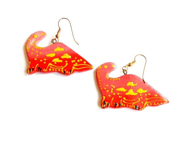 Vintage Red Dinosaur Earrings  Hand Painted  Thailand image 0