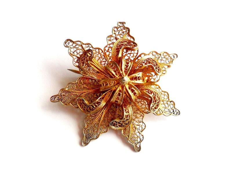 Vintage Filigree Flower Brooch Vermeil Spun Silver Ornate Gold image 0
