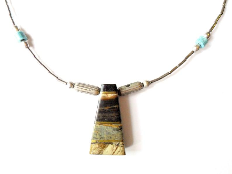 Vintage Liquid Silver Necklace Stone Pendant Southwestern image 0