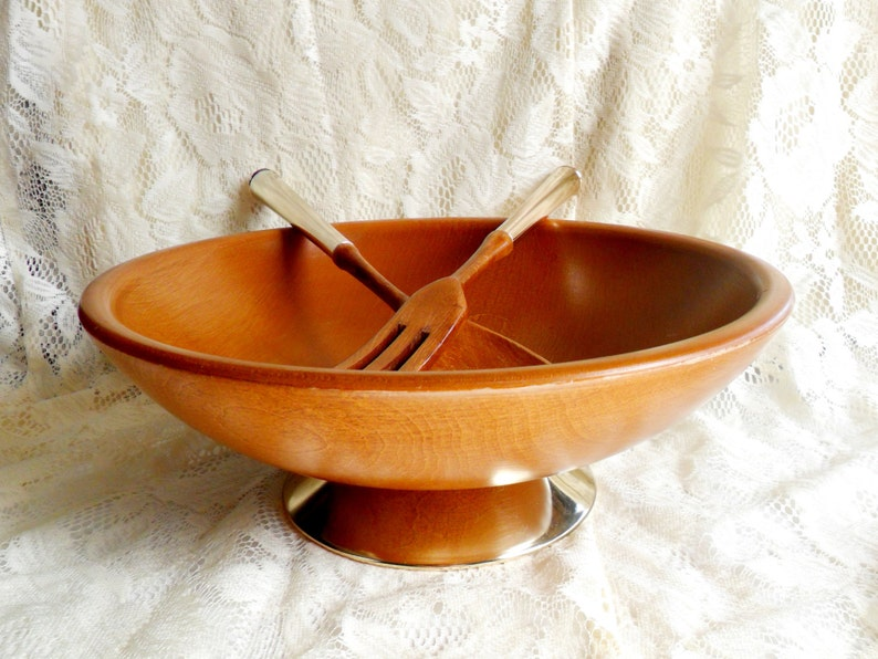Cherry Wood Salad Bowl Set Vintage Utensils Gold Bottom Tiki image 0