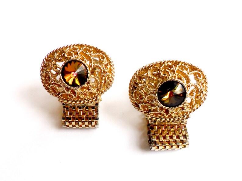 Swank Topaz Rivoli Cuff Links Vintage Gold Tone Filigree Mesh image 0