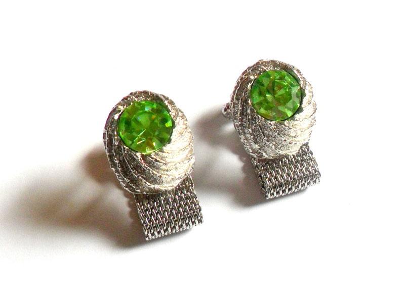 Swank Green Rhinestone Cuff Links Silver Nugget Mesh Wrap Bold image 0