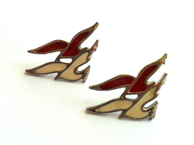 Vintage Red White Enamel Bird Earrings Pierced Post Silver image 0