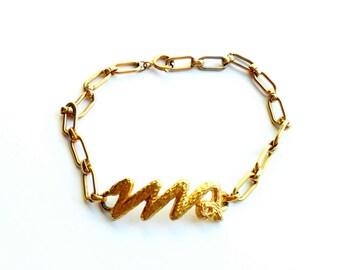 Vintage Virgo Zodiac Bracelet Signed Celebrity Astrology Star Sign Marked Gold Tone Chain Anklet Adjustable Length 1970s 70s Style