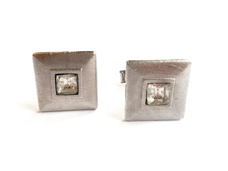 Vintage Square Rhinestone Cuff Links Silver Tone Metal image 0