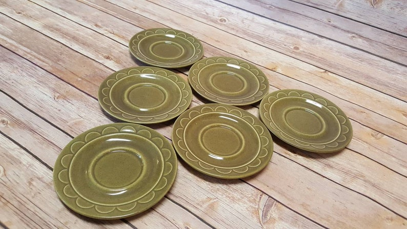 Vintage Avocado Green Saucers  Set of 6  Homer Laughlin  image 0