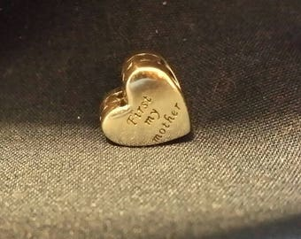 "Authentic Pandora ""FIRST My Mother FOREVER My Friend"" s925 ALE Sterling Silver Charm Heart. Item #791518"