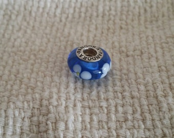 "Authentic Pandora ""Blue Flowers"" Murano Glass Bead. Sterling Silver. Retired. - PD1000176"