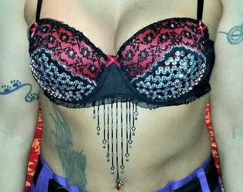 Black and Red Lacy Bra with Red and Clear Czech Crystal Rhinestones. Black Chain Fringe in Front - BB1000184