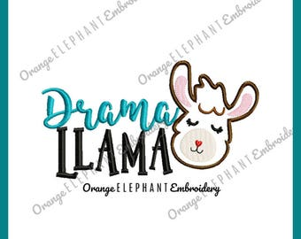 Drama Llama Unique Urban Machine Embroidery Design digital File