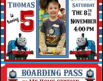 Thomas The Train Birthday Party Photo Invitation
