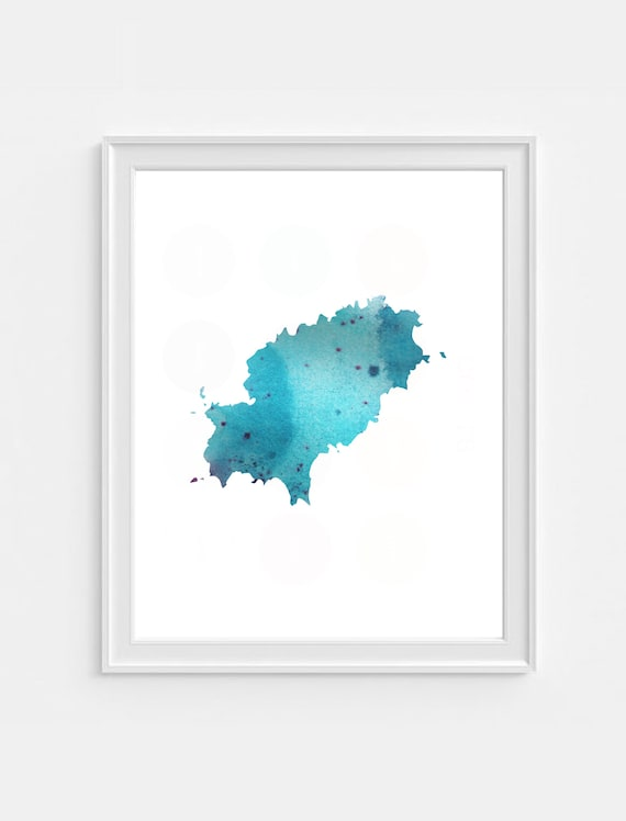 Ibiza On World Map.Ibiza Map Water Colour Wall Print Wall Art Picture Etsy