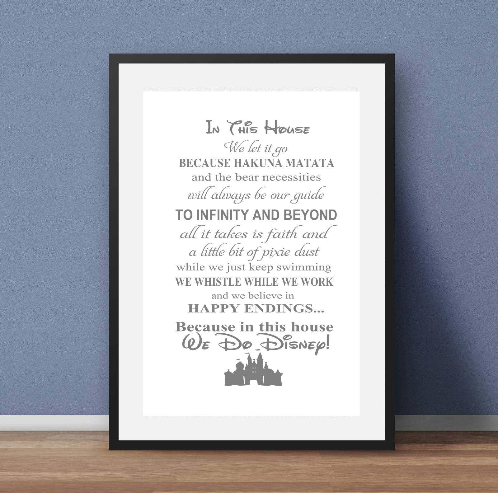 In This House We Do Disney Nursery Print Baby Gift Water Etsy