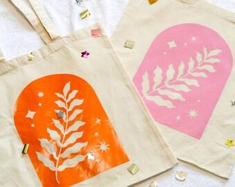 Fern Tote Bag - Cotton tote- farmers market bag - grocery bag - beach bag -