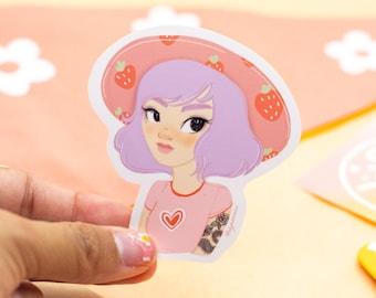 Strawberry Lily sticker - die cut sticker - waterproof sticker - hydroflask sticker - gift for friend