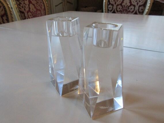 Oleg Cassini Crystal Candle Holders Etsy