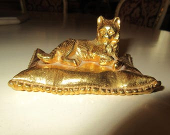GOLD PLATED CAT on Pillow