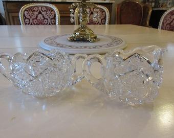 CUT GLASS CREAM and Sugar Bowl Set