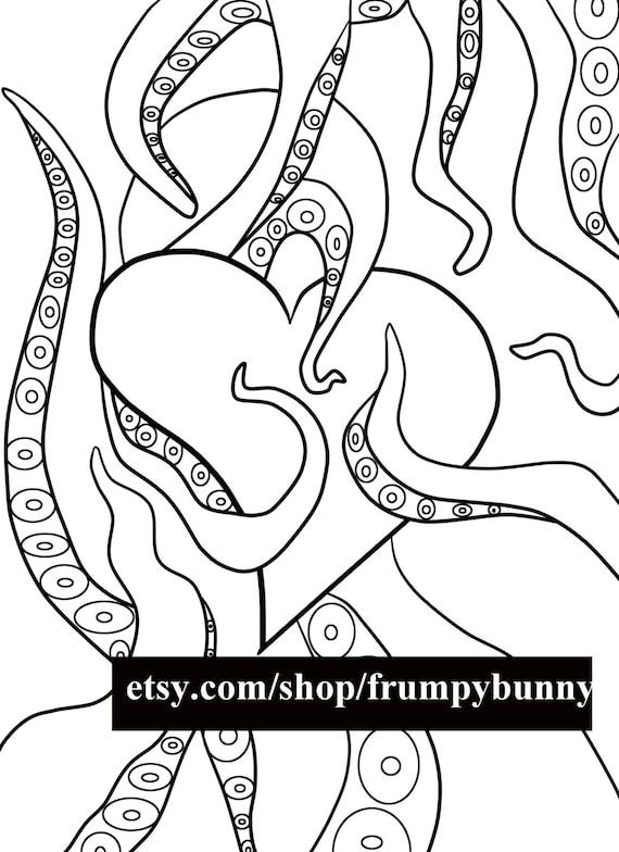 Tentáculo corazón para colorear para Imprimir página digital sello/Digi/San Valentín