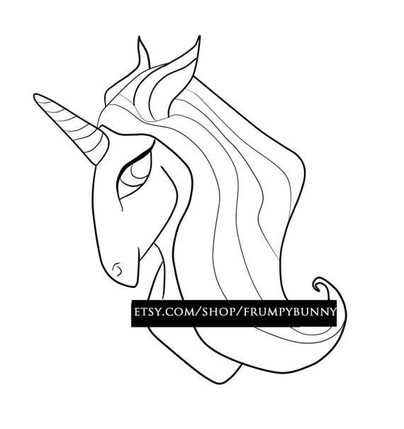 sello digital cabeza de unicornio para colorear arte en | Etsy