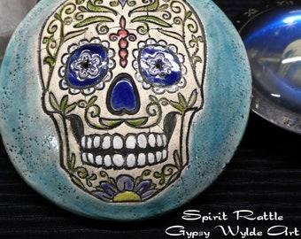Ceramic Meditation Rattle- Sugar Skull