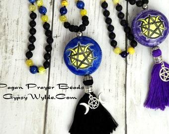 Pagan Prayer Beads- Tri-Moon/Pentacle Lion's Gate Edition