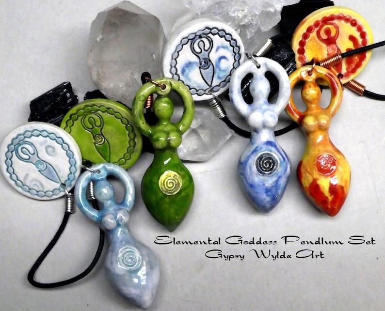 Elemental Goddess Pendulum Set Fire Water Earth And Air image 0