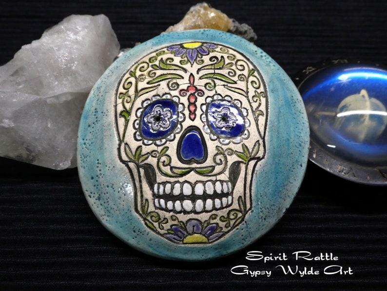 Ceramic Meditation Rattle Sugar Skull image 0
