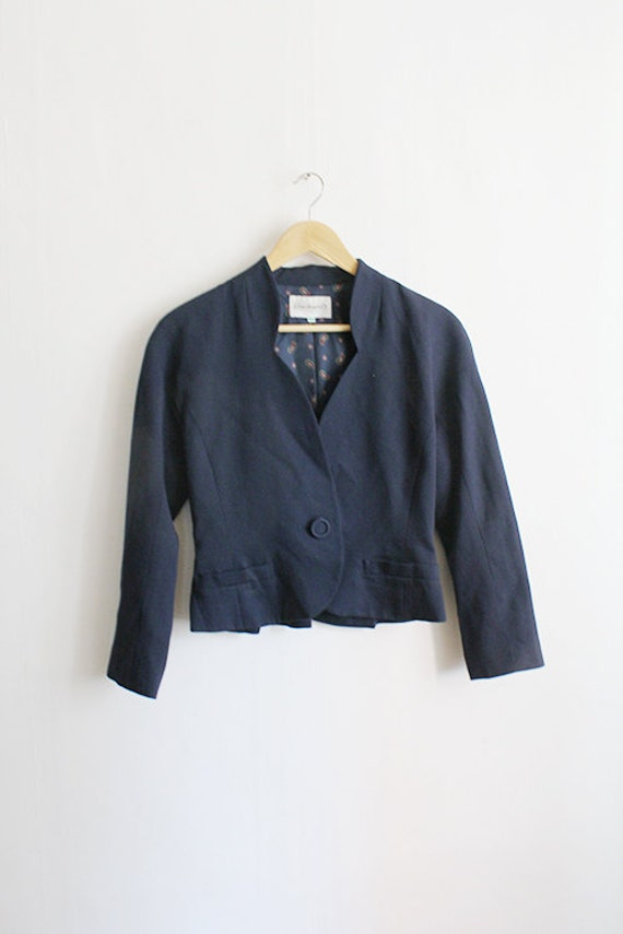 vintage cacharel navy short jacket