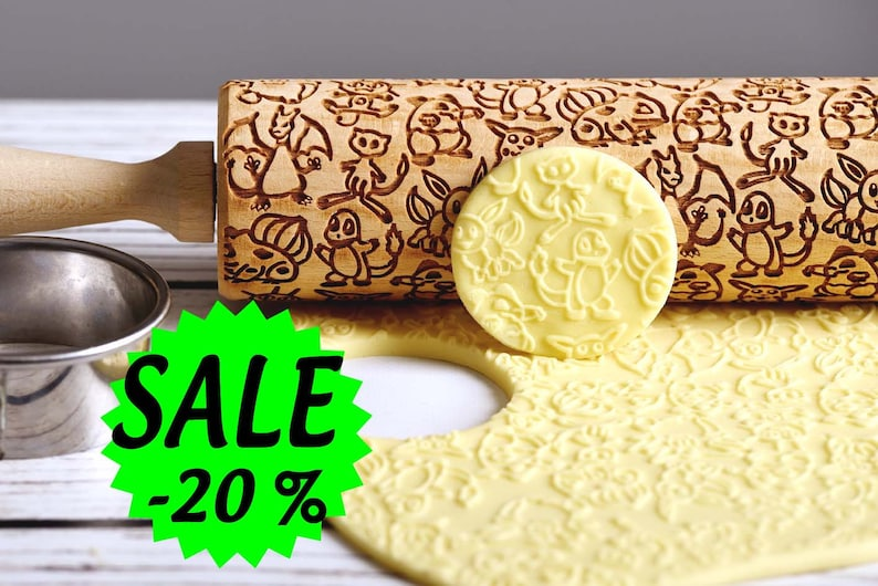 Pokémon  Embossing rolling pin Cookies decorating roller image 0