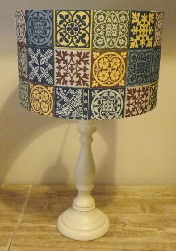 Moroccan Tile Lampshade antique tiles no4 light shade,slate blue
