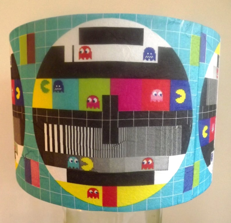 Lampshade Retro Gaming TV Test Card Pac Man Kids bedroom hip and groovey  loft apartment