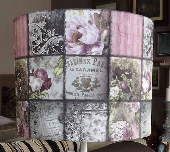 Shabby Chic Lamp Shade French Cafe Patchwork Ladies Girls Bedroom Boudoir Flower Lightshade Fatta Da Mamma