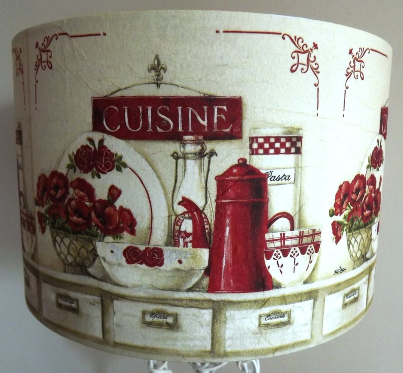Red & Cream Kitchen Table Lampshade shabby chic vintage French image 0
