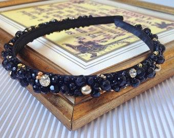 eabc49e588a Black Onyx Gold faceted beaded gothic headband