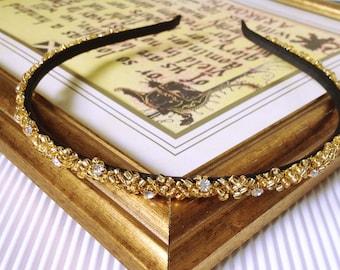Sparkly Gold beaded narrow Headband Gold beaded Hair Band Gold tiara Gold crown Gold Bridesmaid headpiece Gold Hair Accessories